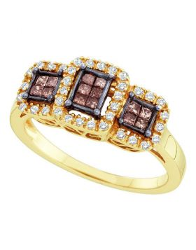 14kt Yellow Gold Womens Princess Cognac-brown Color Enhanced Diamond Triple Cluster Ring 3/8 Cttw