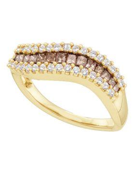 14kt Yellow Gold Womens Princess Cognac-brown Color Enhanced Diamond Contoured Band Ring 5/8 Cttw