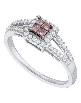 14kt White Gold Womens Princess Cognac-brown Color Enhanced Diamond Split-shank Cluster Ring 1/3 Cttw