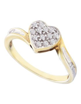Yellow-tone Sterling Silver Womens Round Diamond Heart Love Ring 1/8 Cttw