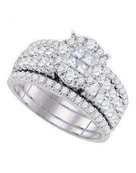 14kt White Gold Womens Princess Diamond Soleil Bridal Wedding Engagement Ring Band Set 1-1/2 Cttw