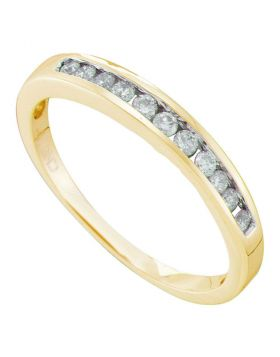 14kt Yellow Gold Womens Round Diamond Single Row Fashion Band Ring 1/4 Cttw