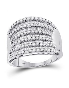 14kt White Gold Womens Round Baguette Diamond Striped Fashion Band Ring 1-5/8 Cttw