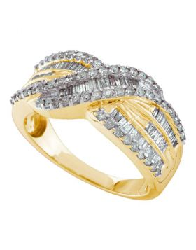 14kt Yellow Gold Womens Round Diamond Crossover Band Ring 3/4 Cttw
