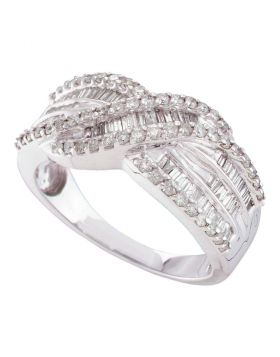 14kt White Gold Womens Round Diamond Crossover Band Ring 3/4 Cttw