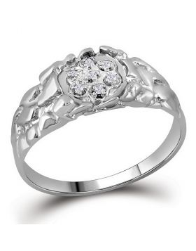 STERLING SILVER ROUND DIAMOND CLUSTER NUGGET RING 1/20 CTTW