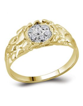 STERLING SILVER ROUND DIAMOND CLUSTER RING 1/20 CTTW