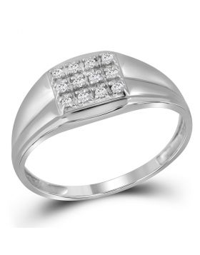 STERLING SILVER ROUND DIAMOND SQUARE CLUSTER RING 1/8 CTTW
