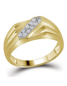 YELLOW-TONE STERLING SILVER ROUND PRONG-SET DIAMOND DOUBLE ROW RING 1/10 CTTW
