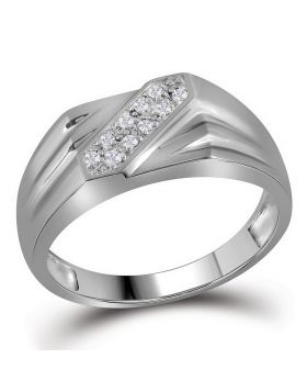 STERLING SILVER ROUND PRONG-SET DIAMOND DIAGONAL DOUBLE ROW BAND RING 1/10 CTTW