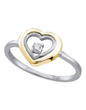 10kt Two-tone White Gold Womens Round Diamond Solitaire Heart Ring 1/20 Cttw