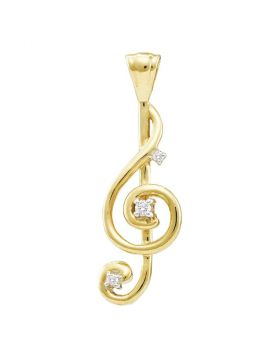 10kt Yellow Gold Womens Round Diamond Treble Clef Music Note Pendant 1/20 Cttw
