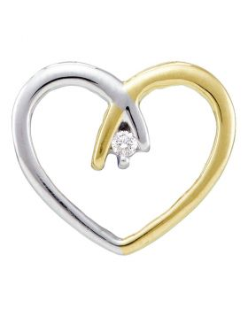 10kt Two-tone Yellow Gold Womens Round Diamond Solitaire Heart Pendant .03 Cttw