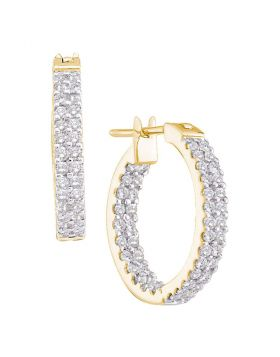 14kt Yellow Gold Womens Round Diamond Inside Outside Double Row Hoop Earrings 1.00 Cttw