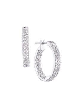 14kt White Gold Womens Round Diamond Inside Outside Double Row Hoop Earrings 1.00 Cttw