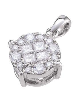 14kt White Gold Womens Princess Round Diamond Soliel Cluster Pendant 1/2 Cttw
