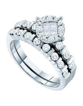 14kt White Gold Womens Princess Round Diamond Soleil Bridal Wedding Engagement Ring Band Set  Cttw