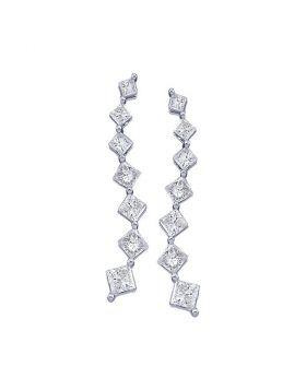14kt White Gold Womens Princess Diamond Journey Stud Earrings 1/2 Cttw