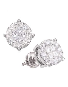 14kt White Gold Womens Princess Round Diamond Soleil Cluster Earrings 1.00 Cttw