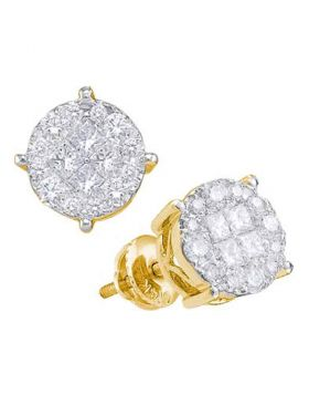 14kt Yellow Gold Womens Princess Round Diamond Soleil Cluster Earrings 1-1/2 Cttw