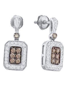 14kt White Gold Womens Round Cognac-brown Color Enhanced Diamond Rectangle Dangle Earrings 1/2 Cttw