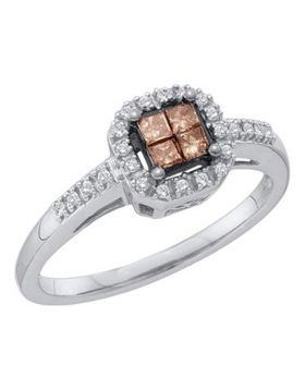 10kt White Gold Womens Princess Cognac-brown Color Enhanced Diamond Square Cluster Ring 1/4 Cttw