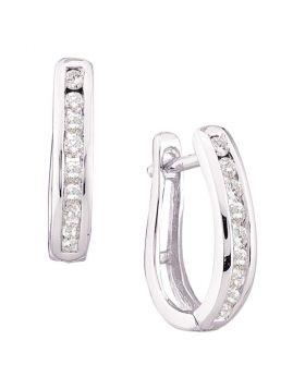 14kt White Gold Womens Round Diamond Single Row Oblong Hoop Earrings 1/4 Cttw