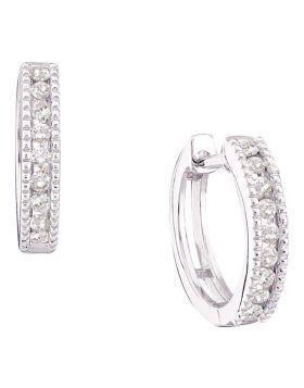 14k White Gold Round Channel-set Diamond Womens Small Hoop Milgrain-accent Earrings 1/4 Cttw