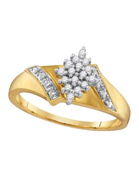 14kt Yellow Gold Womens Round Diamond Oval Cluster Ring 1/10 Cttw