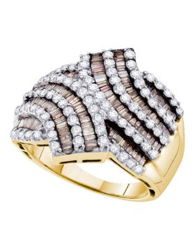 14kt Yellow Gold Womens Baguette Brown Color Enhanced Diamond Bypass Band Ring 1-3/4 Cttw