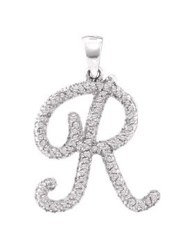 10kt White Gold Womens Round Diamond Cursive Letter R Pendant 1/5 Cttw