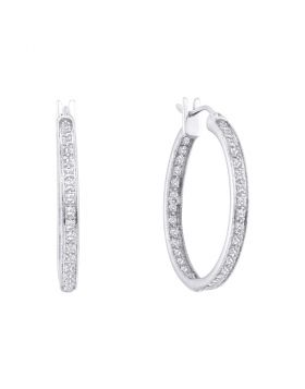 14kt White Gold Womens Round Diamond Single Row Inside Outside Endless Hoop Earrings 1.00 Cttw