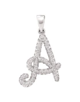 10kt White Gold Womens Round Diamond Letter A Pendant 1/5 Cttw