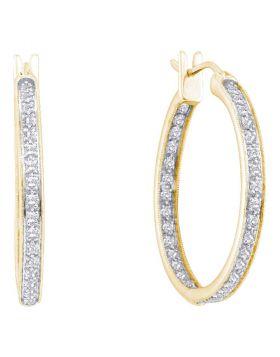 14kt Yellow Gold Womens Round Diamond Single Row Inside Outside Hoop Earrings 1.00 Cttw