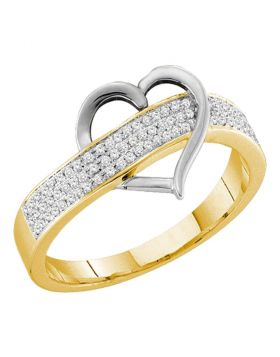 10kt Yellow Gold Womens Round Diamond Heart Love Band 1/6 Cttw