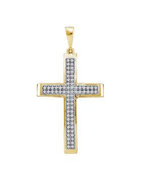 10kt Yellow Gold Womens Round Diamond Medium Cross Pendant 1/5 Cttw