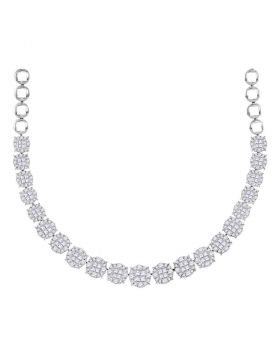14kt White Gold Womens Princess Diamond Soleil Cluster Luxury Necklace  10 Cttw
