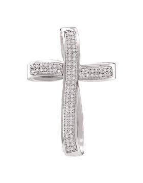 10k White Gold Round Pave-set Diamond Womens Christian Cross Pendant 1/2 Cttw