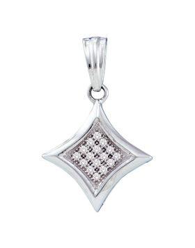 10kt White Gold Womens Round Diamond Diagonal Kite Square Cluster Pendant 1/20 Cttw