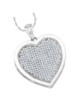 10kt White Gold Womens Round Diamond Heart Pendant 1/2 Cttw