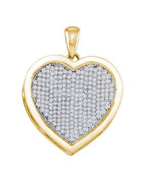 10kt Yellow Gold Womens Round Diamond Heart Cluster Charm Pendant 3/4 Cttw