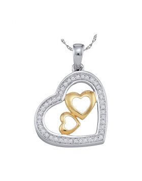 10kt Two-tone Gold Womens Round Diamond Triple Nested Heart Pendant 1/6 Cttw