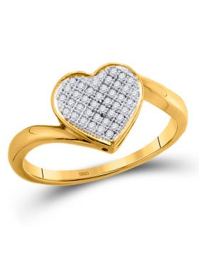 10kt Yellow Gold Womens Round Diamond Heart Love Cluster Ring 1/20 Cttw