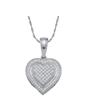 10kt White Gold Womens Round Diamond Layered Heart Cluster Pendant 1/6 Cttw