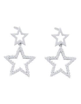 10kt White Gold Womens Round Diamond Double Star Dangle Screwback Earrings 1/4 Cttw
