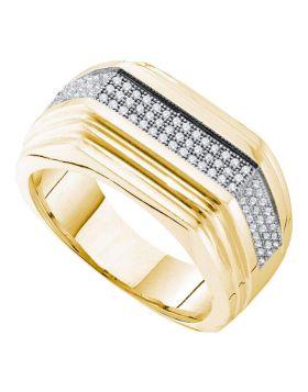 10kt Yellow Gold Mens Round Pave-set Diamond Ridged Flat Band Ring 1/3 Cttw