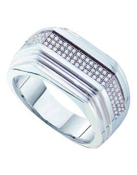 10KT WHITE GOLD ROUND PAVE-SET DIAMOND RIDGED FLAT BAND RING 1/3 CTTW