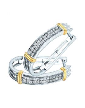 10kt Two-tone Gold Womens Round Diamond Oblong Double Row Hoop Earrings 1/6 Cttw