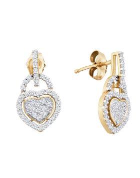 10kt Yellow Gold Womens Round Diamond Heart Dangle Earrings 1/3 Cttw