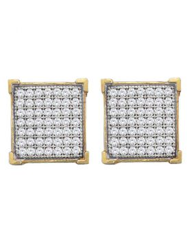 10kt Yellow Gold Womens Round Diamond Square Cluster Stud Earrings 1/3 Cttw